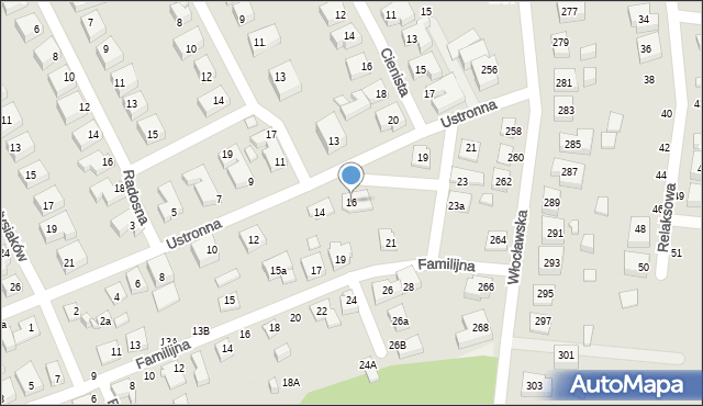 Toruń, Ustronna, 16, mapa Torunia