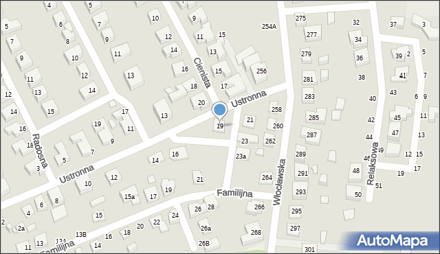 Toruń, Ustronna, 19, mapa Torunia