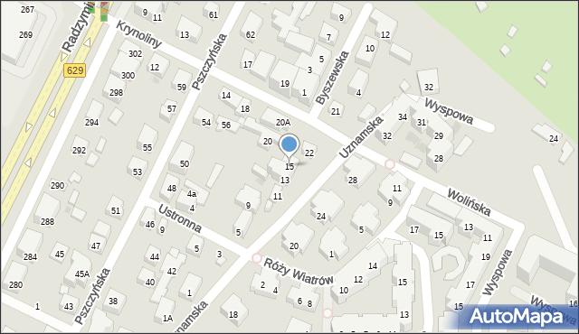 Warszawa, Uznamska, 15, mapa Warszawy