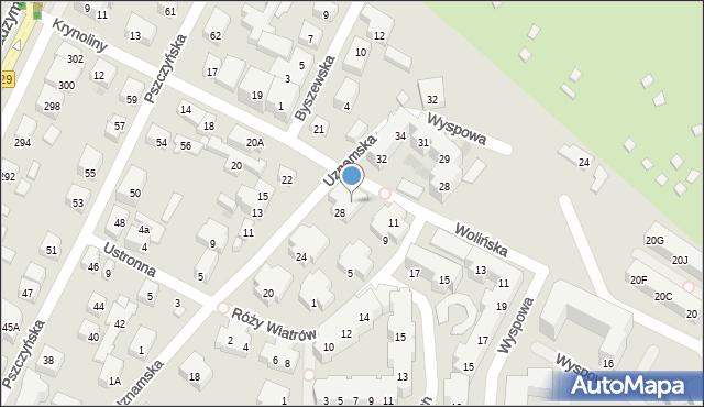 Warszawa, Uznamska, 30, mapa Warszawy