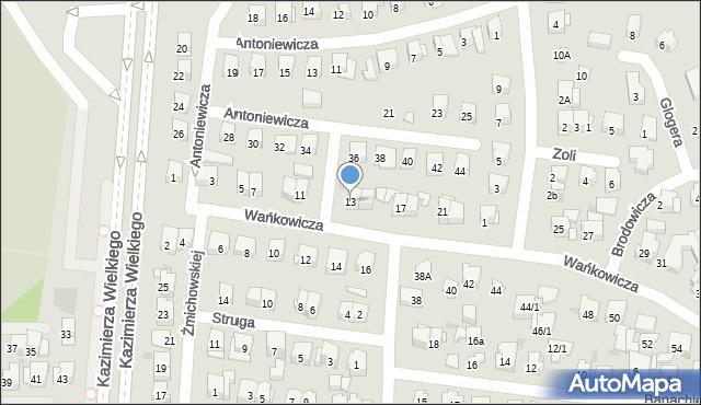 Białystok, Wańkowicza Melchiora, 13, mapa Białegostoku