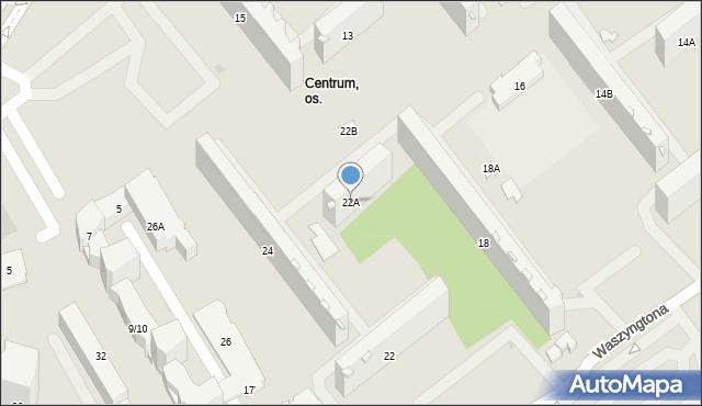 Białystok, Waszyngtona Jerzego, 22A, mapa Białegostoku