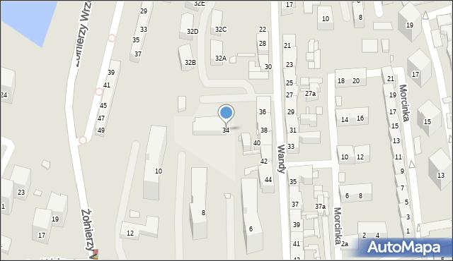 Chorzów, Wandy, 34, mapa Chorzów