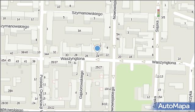 Częstochowa, Waszyngtona, 24, mapa Częstochowy
