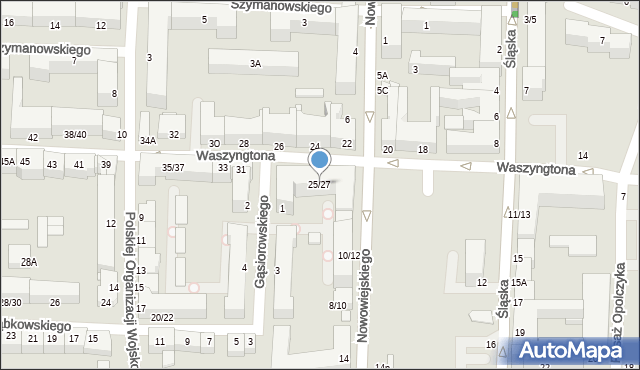 Częstochowa, Waszyngtona, 25/27, mapa Częstochowy