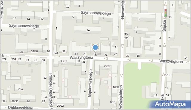 Częstochowa, Waszyngtona, 26, mapa Częstochowy
