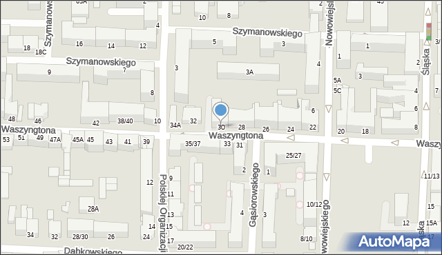 Częstochowa, Waszyngtona, 30, mapa Częstochowy