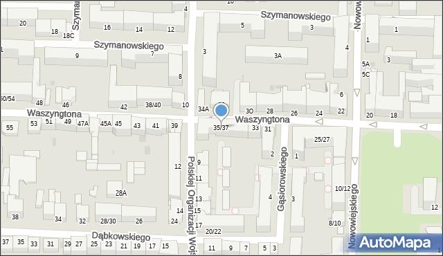 Częstochowa, Waszyngtona, 35/37, mapa Częstochowy