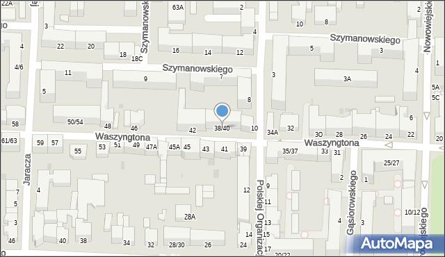 Częstochowa, Waszyngtona, 38/40, mapa Częstochowy