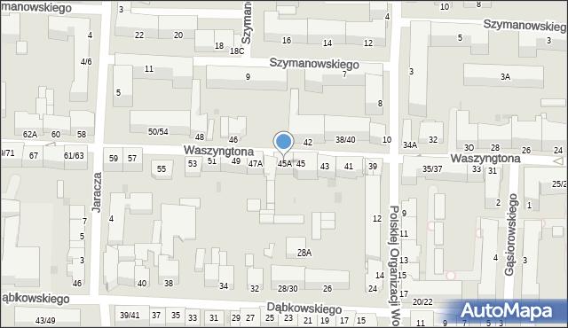Częstochowa, Waszyngtona, 45A, mapa Częstochowy