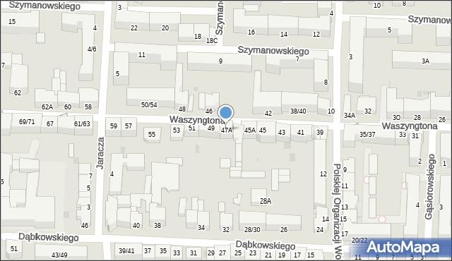 Częstochowa, Waszyngtona, 47A, mapa Częstochowy