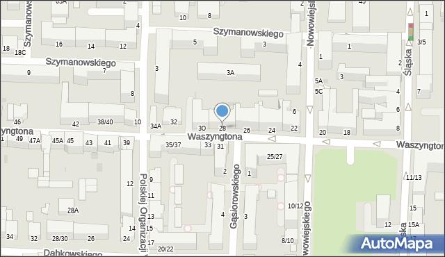 Częstochowa, Waszyngtona Jerzego, 28, mapa Częstochowy