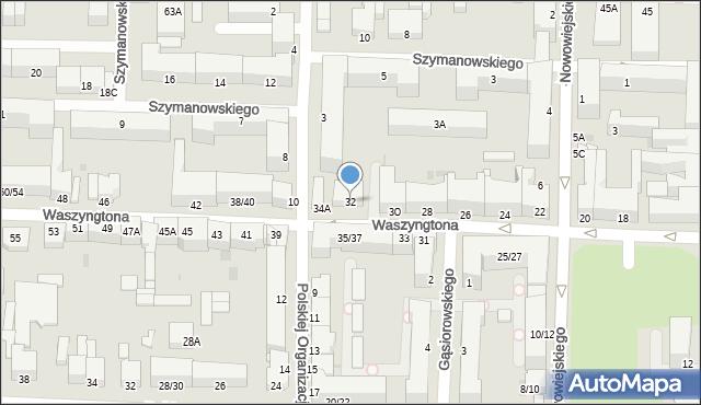 Częstochowa, Waszyngtona Jerzego, 32, mapa Częstochowy