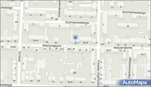 Częstochowa, Waszyngtona Jerzego, 42, mapa Częstochowy