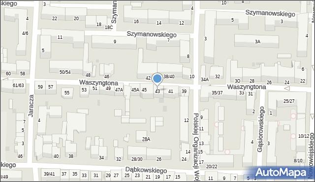 Częstochowa, Waszyngtona Jerzego, 43, mapa Częstochowy