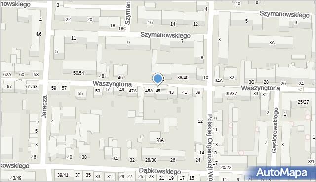 Częstochowa, Waszyngtona Jerzego, 45, mapa Częstochowy
