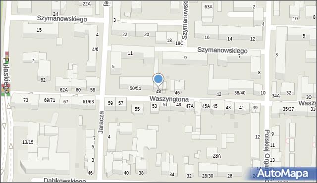 Częstochowa, Waszyngtona Jerzego, 48, mapa Częstochowy
