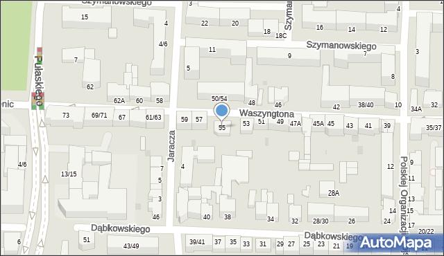 Częstochowa, Waszyngtona Jerzego, 55, mapa Częstochowy