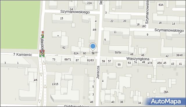 Częstochowa, Waszyngtona Jerzego, 58, mapa Częstochowy