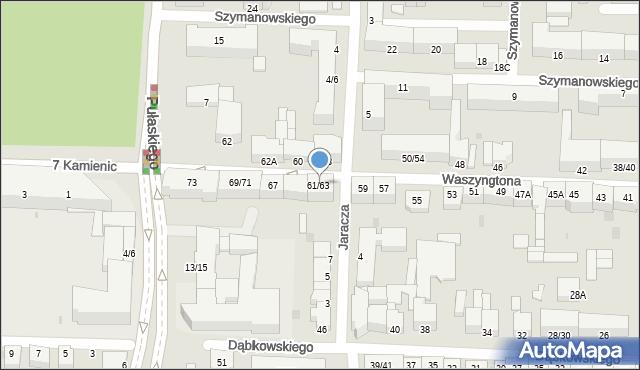 Częstochowa, Waszyngtona Jerzego, 61/63, mapa Częstochowy