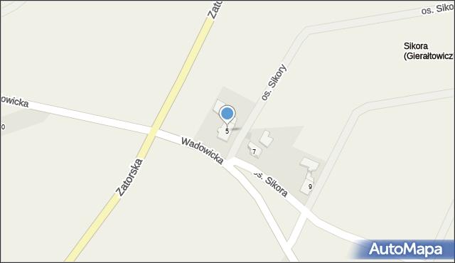 Gierałtowice, Wadowicka, 5, mapa Gierałtowice