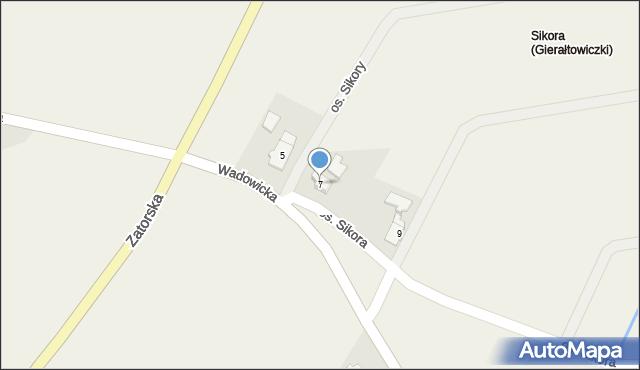 Gierałtowice, Wadowicka, 7, mapa Gierałtowice