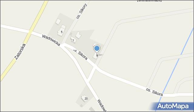 Gierałtowice, Wadowicka, 9, mapa Gierałtowice