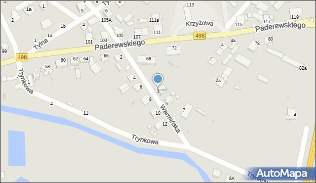 Grudziądz, Warmińska, 3, mapa Grudziądza