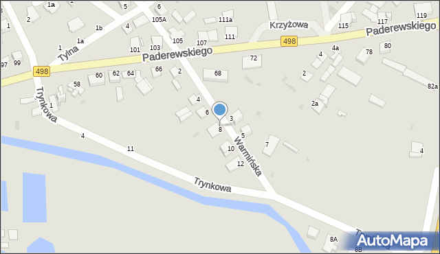 Grudziądz, Warmińska, 8, mapa Grudziądza