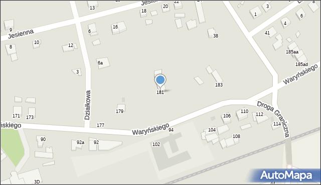 Grudziądz, Waryńskiego Ludwika, 181, mapa Grudziądza