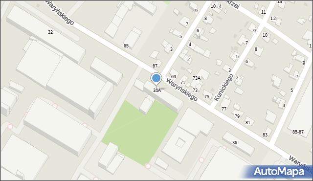 Grudziądz, Waryńskiego Ludwika, 34A, mapa Grudziądza