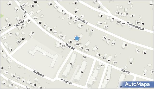 Jaworzno, Wandy, 69A, mapa Jaworzno