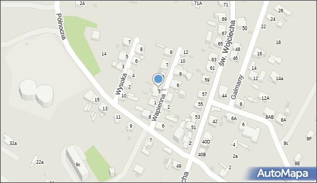 Jaworzno, Wapienna, 3, mapa Jaworzno