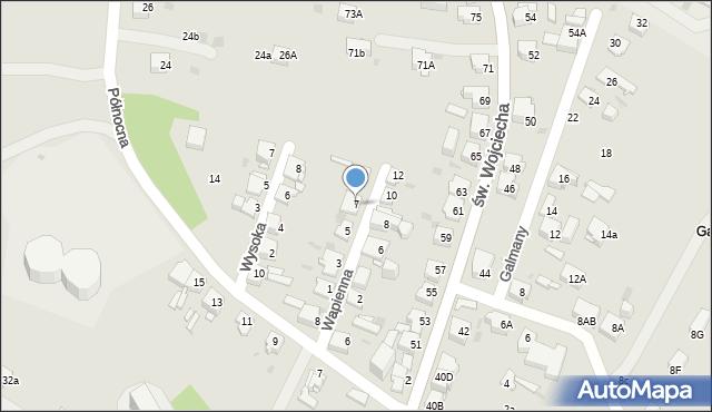 Jaworzno, Wapienna, 7, mapa Jaworzno
