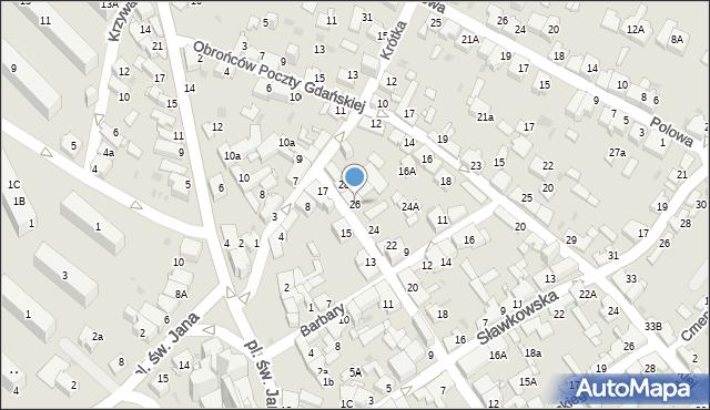 Jaworzno, Waryńskiego Ludwika, 26, mapa Jaworzno