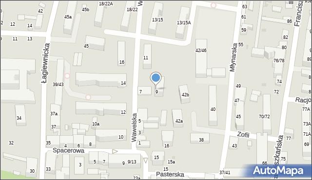 Łódź, Wawelska, 9, mapa Łodzi