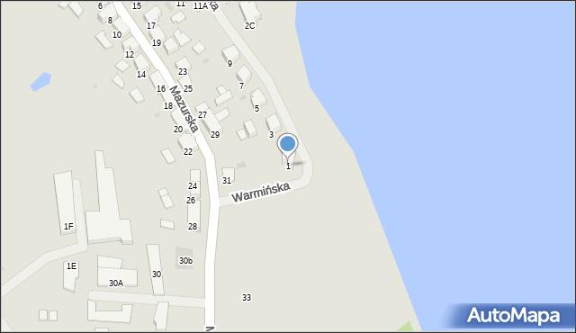 Olecko, Warmińska, 1, mapa Olecko