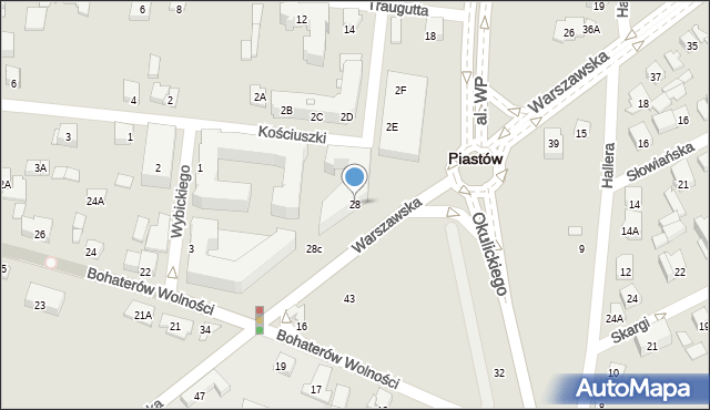 Piastów, Warszawska, 28, mapa Piastów