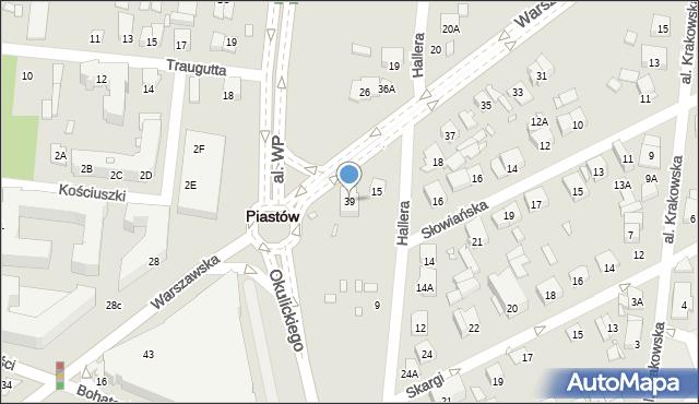 Piastów, Warszawska, 39, mapa Piastów