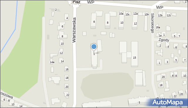 Pisz, Warszawska, 1, mapa Pisz