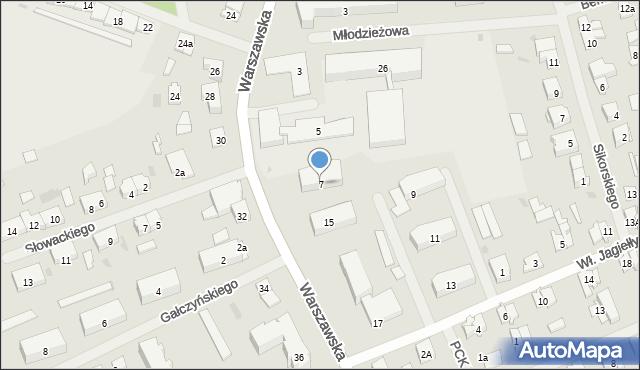 Pisz, Warszawska, 7, mapa Pisz