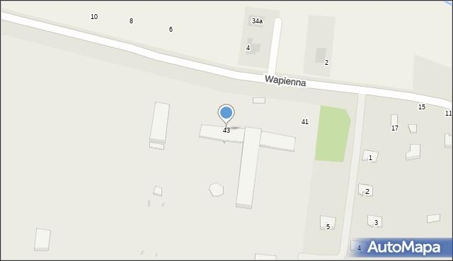 Radom, Wapienna, 43, mapa Radomia