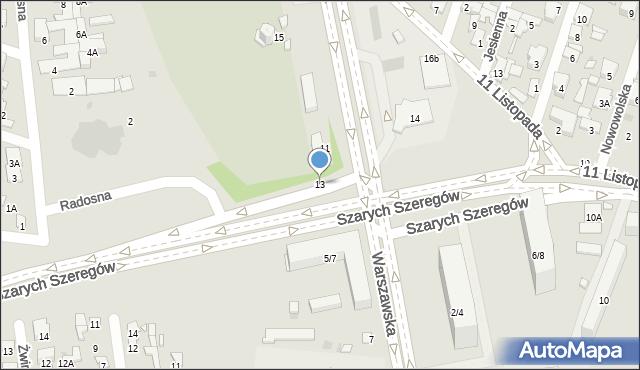 Radom, Warszawska, 13, mapa Radomia