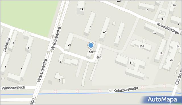 Radom, Warszawska, 26A, mapa Radomia