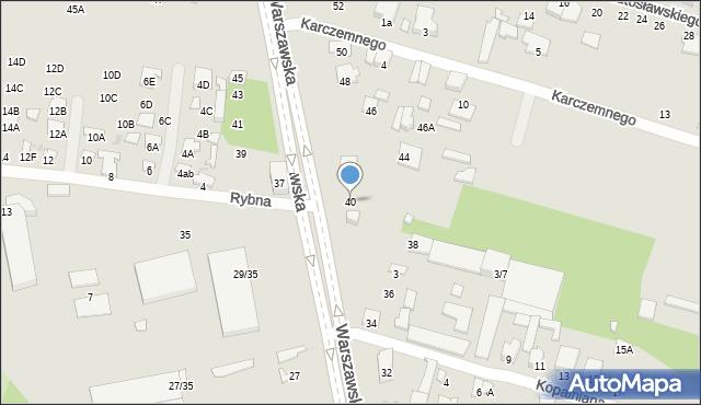 Radom, Warszawska, 40, mapa Radomia