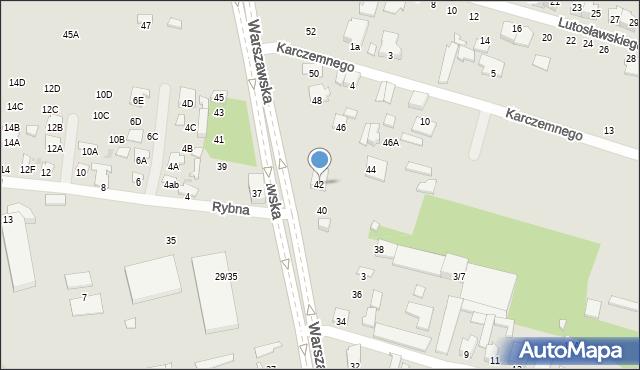 Radom, Warszawska, 42, mapa Radomia