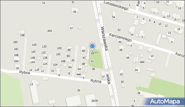 Radom, Warszawska, 43, mapa Radomia