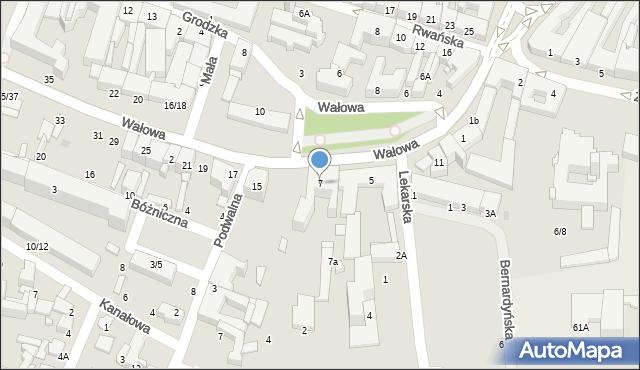 Radom, Wałowa, 7, mapa Radomia
