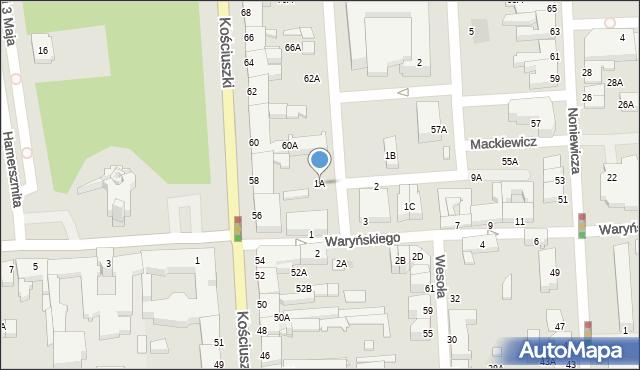 Suwałki, Waryńskiego Ludwika, 1A, mapa Suwałk