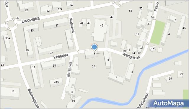 Tarnów, Warzywna, 3, mapa Tarnów